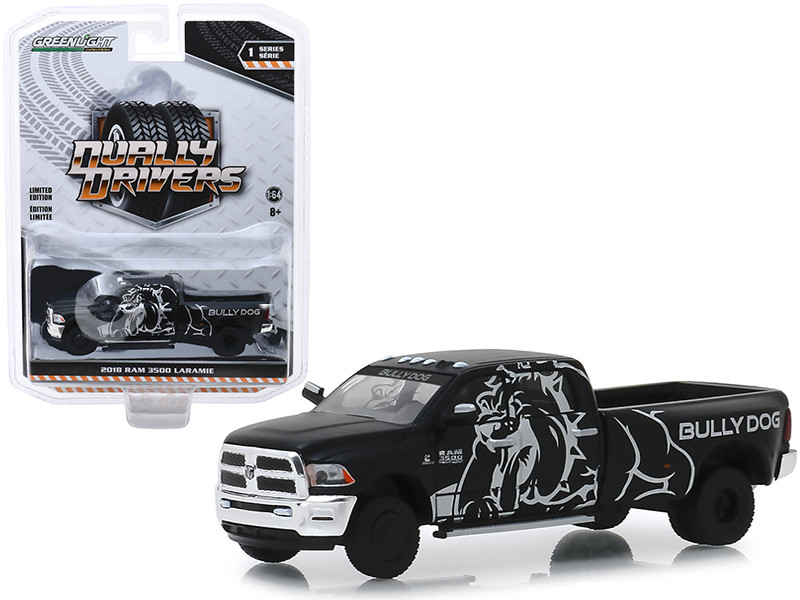 2018 Dodge Ram 3500 Laramie Dually Pickup Truck Bully Dog Black Dually Drivers Series 1 1/64 Diecast Model Car Greenlight 46010 E