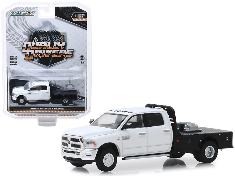 2018 Dodge Ram 3500 Laramie Dually Flatbed Truck White Dually Drivers Series 1 1/64 Diecast Model Car Greenlight 46010 F