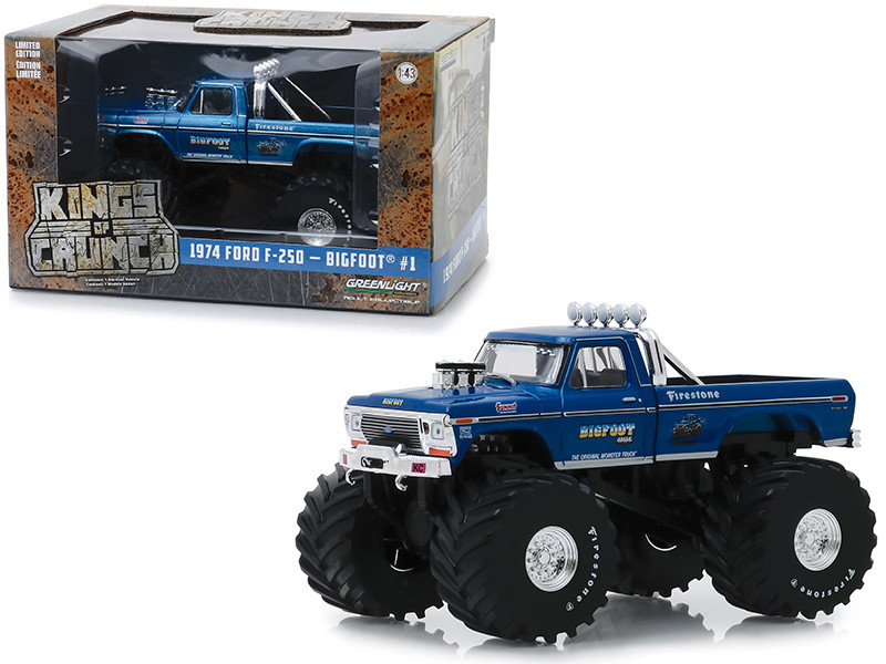 1974 Ford F-250 Monster Truck Bigfoot #1 Blue 66-Inch Tires Kings of Crunch 1/43 Diecast Model Car Greenlight 88011