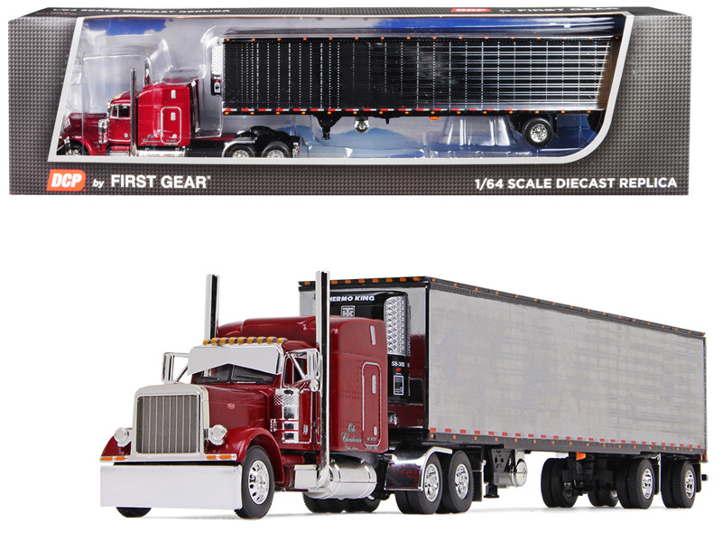 "Peterbilt 379 63"" Mid-Roof Sleeper Cab 53' Utility Reefer Refrigerated Ribbed Sided Trailer Christensen Trucking 1/64 Diecast Model DCP First Gear 60-0467"
