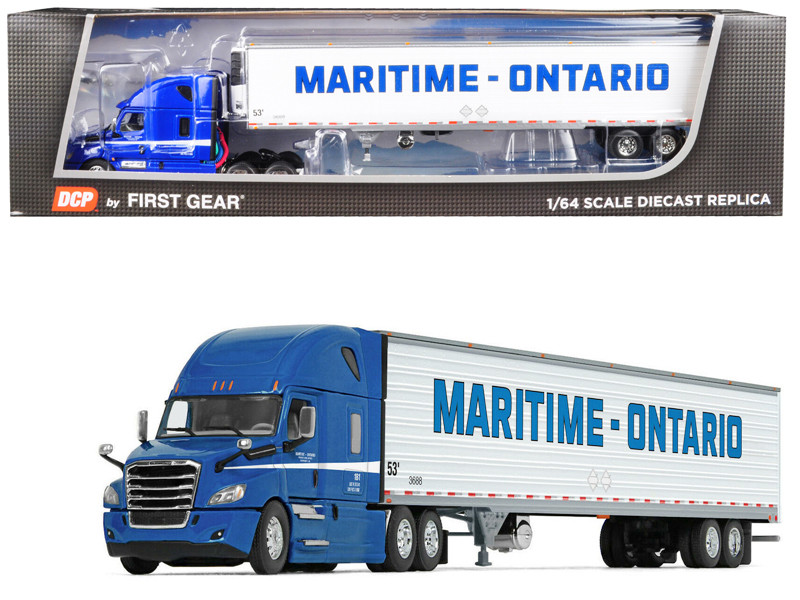 2018 Freightliner Cascadia High-Roof Sleeper Cab 53' Utility Reefer Refrigerated Trailer Maritime-Ontario 1/64 Diecast Model DCP First Gear 60-0537