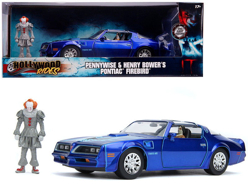 Henry Bower's Pontiac Firebird Trans Am Candy Blue Pennywise Diecast Figurine It Chapter Two 2019 Movie 1/24 Diecast Model Car Jada 31118