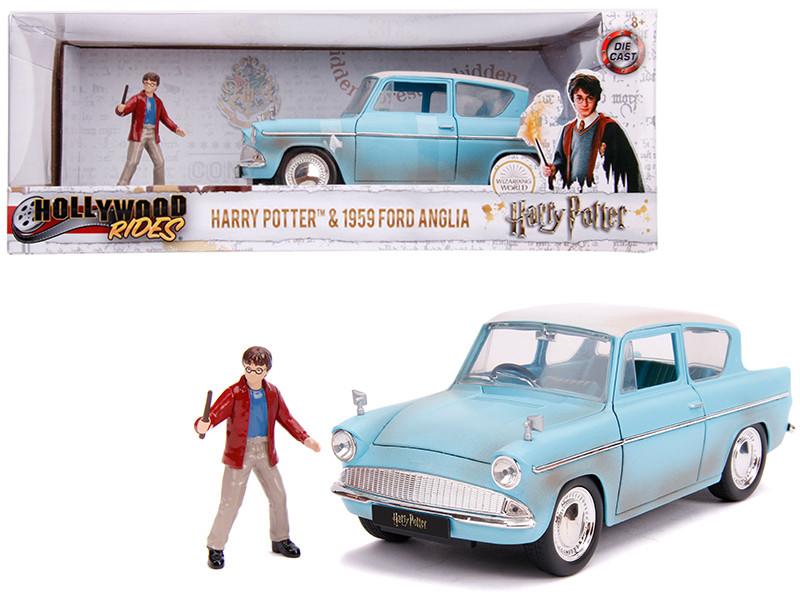 1959 Ford Anglia Light Blue Weathered Harry Potter Diecast Figurine 1/24 Diecast Model Car Jada 31127