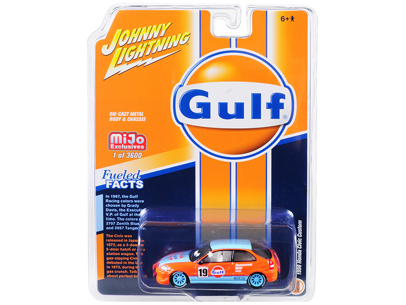1998 Honda Civic Custom #19 Gulf Oil Limited Edition 3600 pieces Worldwide 1/64 Diecast Model Car Johnny Lightning JLCP7192