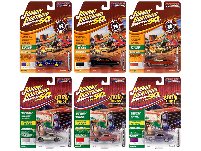 Muscle Cars USA 2019 Release 2 Set A of 6 Cars Johnny Lightning 50th Anniversary Limited Edition 4000 pieces Worldwide 1/64 Diecast Models Johnny Lightning JLMC020 A