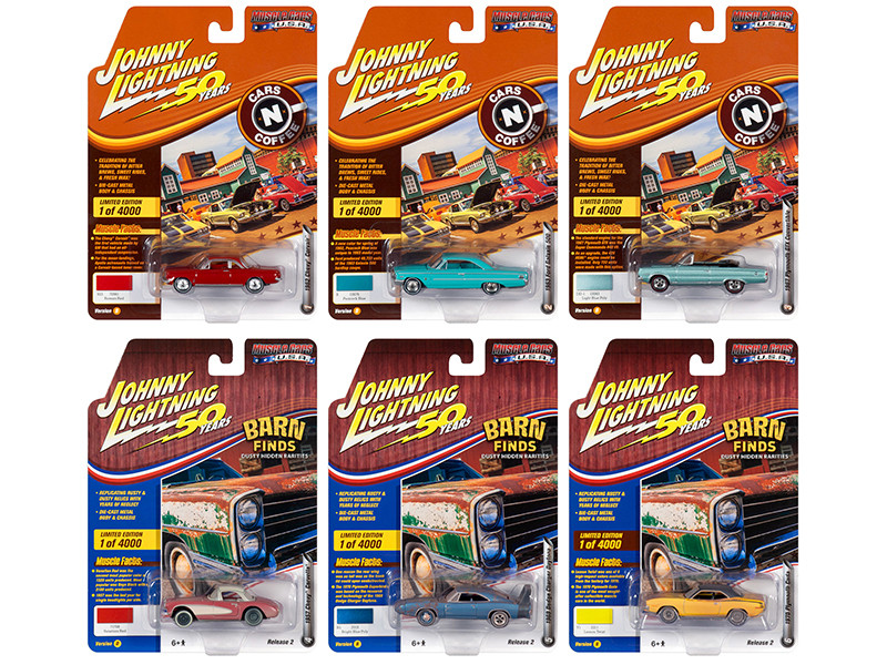 Muscle Cars USA 2019 Release 2 Set B of 6 Cars Johnny Lightning 50th Anniversary Limited Edition 4000 pieces Worldwide 1/64 Diecast Models Johnny Lightning JLMC020 B