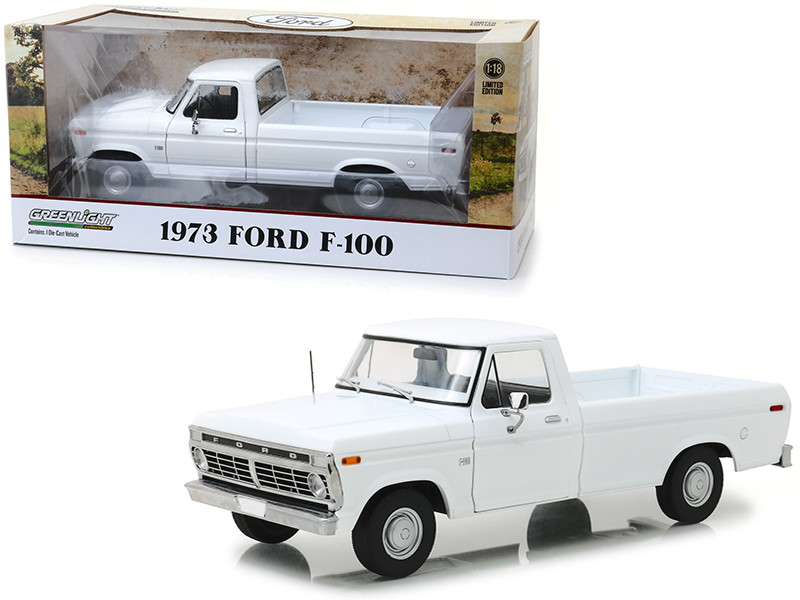 1973 Ford F-100 Pickup Truck White 1/18 Diecast Model Car Greenlight 13536