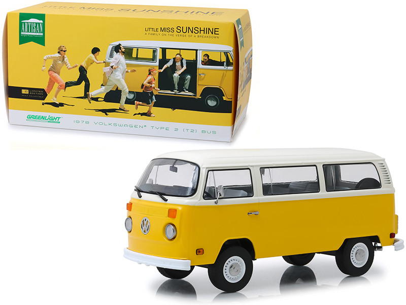 1978 Volkswagen Type 2 T2 Bus Yellow White Top Little Miss Sunshine 2006 Movie 1/18 Diecast Model Greenlight 19051