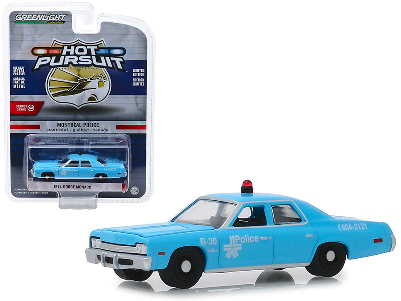 1974 Dodge Monaco Montreal Canada Police Light Blue Hot Pursuit Series 32 1/64 Diecast Model Car Greenlight 42890 A