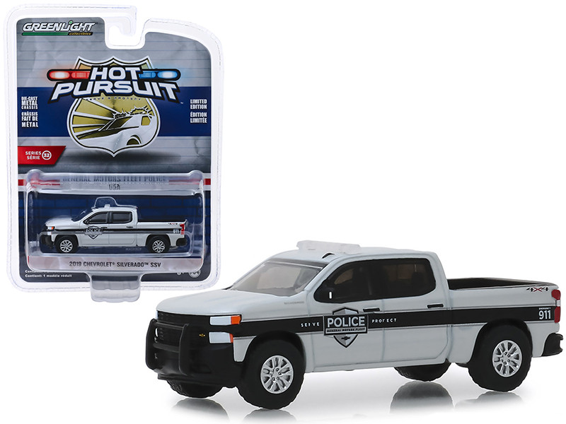 2019 Chevrolet Silverado SSV Pickup Truck General Motors Fleet Police Hot Pursuit Series 32 1/64 Diecast Model Car Greenlight 42890 F