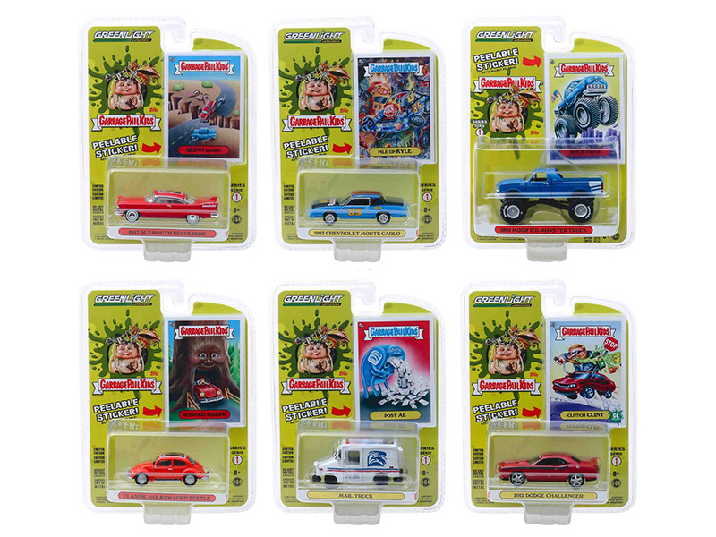Garbage Pail Kids Series 1 6 piece Set 1/64 Diecast Model Cars Greenlight 54010
