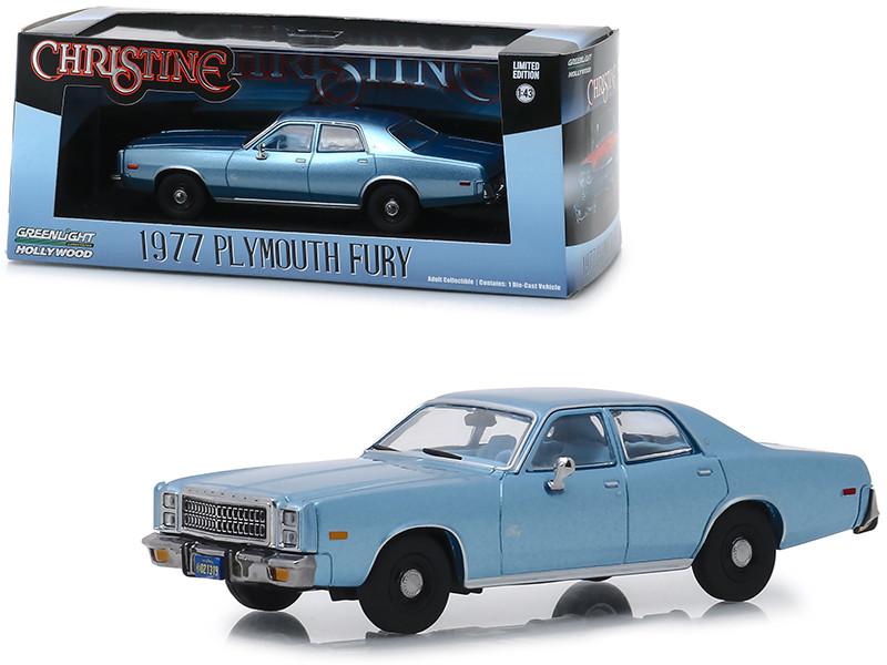 1977 Plymouth Fury Steel Blue Detective Rudolph Junkins' Christine 1983 Movie 1/43 Diecast Model Car Greenlight 86559