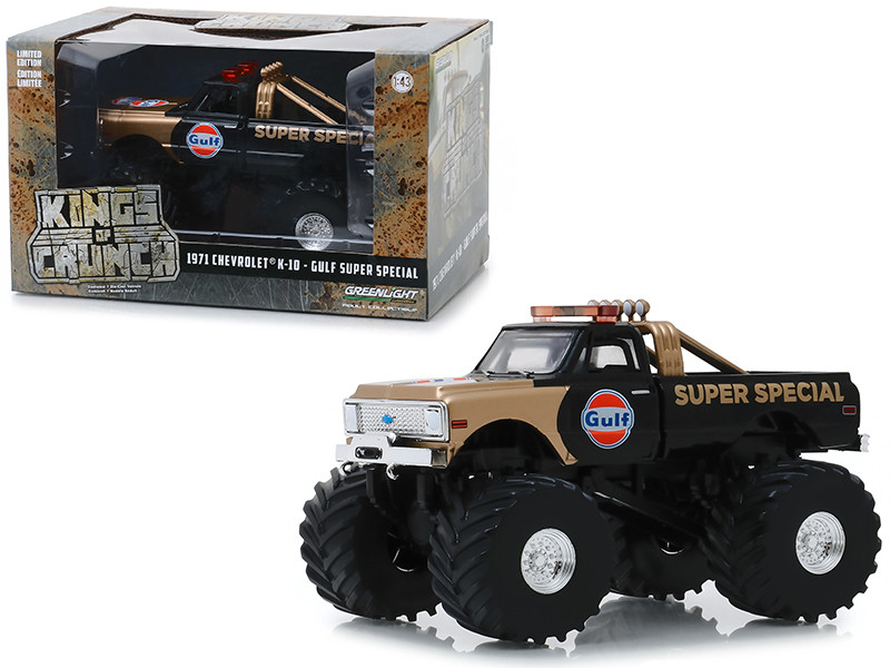1971 Chevrolet K-10 Monster Truck Gulf Oil Super Special Black Gold 66-Inch Tires Kings of Crunch 1/43 Diecast Model Car Greenlight 88013