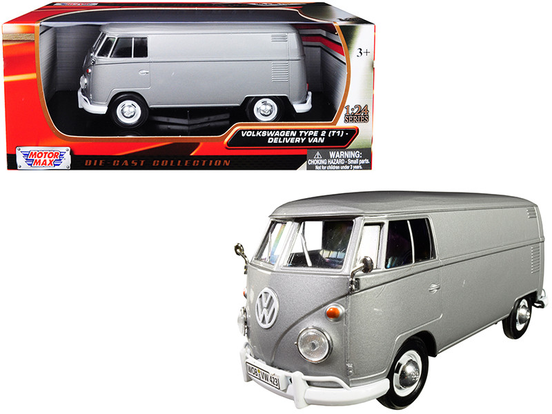 Volkswagen Type 2 T1 Delivery Van Metallic Gray 1/24 Diecast Model Motormax 79342