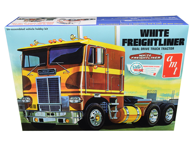 Skill 3 Model Kit White Freightliner Dual Drive Truck Tractor 1/25 Scale Model AMT AMT620