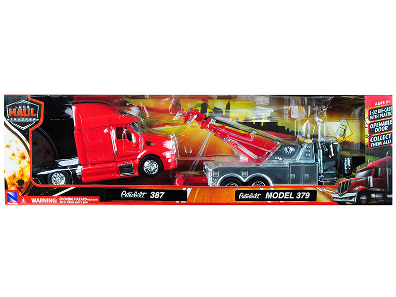 Peterbilt 379 Tow Truck Black Peterbilt 387 Truck Tractor Red Set 2 pieces 1/32 Diecast Models New Ray 12053 A