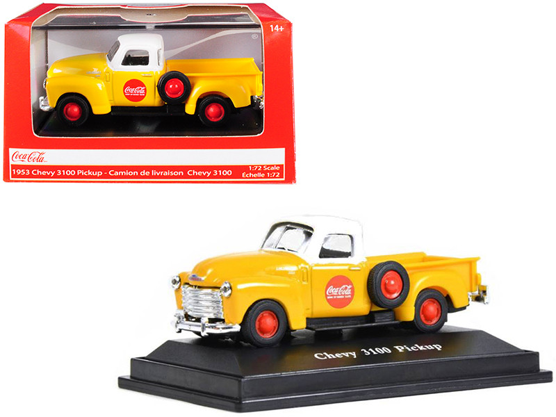 1953 Chevrolet 3100 Pickup Truck Coca Cola Yellow White Top 1/72 Diecast Model Car Motorcity Classics 472002