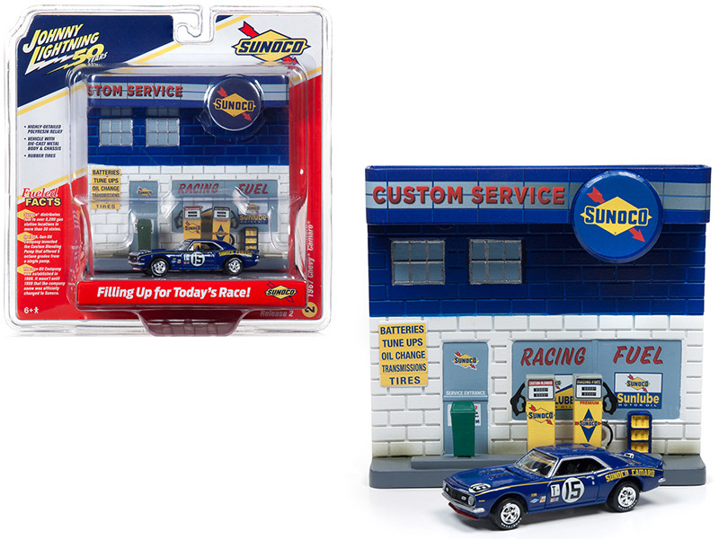1967 Chevrolet Camaro #15 Sunoco with Sunoco Exterior Service Gas Station Facade Diorama Set Johnny Lightning 50th Anniversary 1/64 Diecast Model Car Johnny Lightning JLDR007