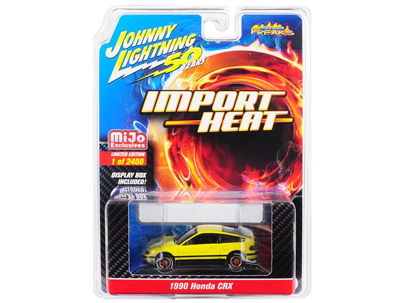 1990 Honda CRX Yellow Street Freaks Johnny Lightning 50th Anniversary Limited Edition 2400 pieces Worldwide 1/64 Diecast Model Car Johnny Lightning JLCP7201