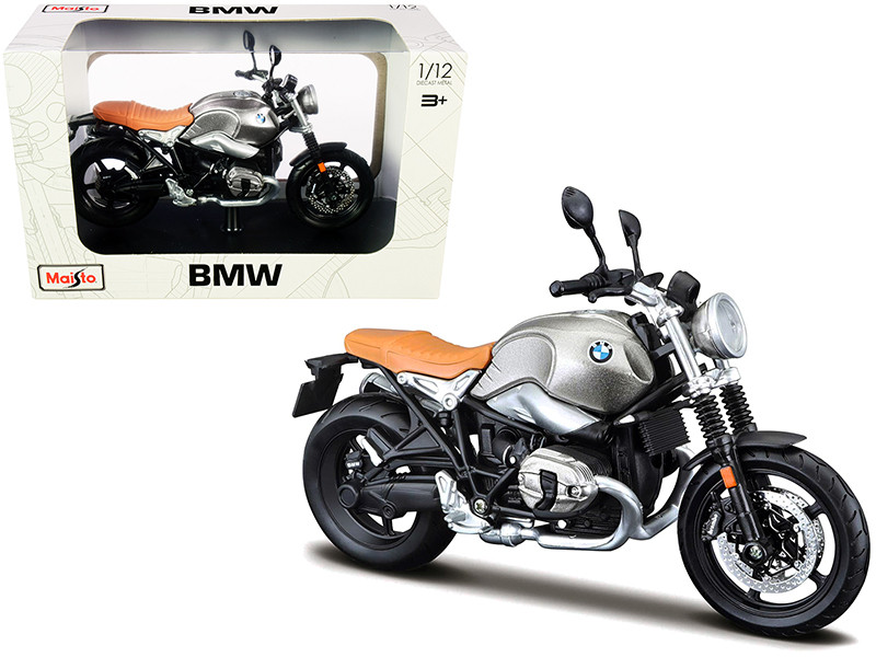 BMW R nineT Scrambler Meatllic Gray Plastic Display Stand 1/12 Diecast Motorcycle Model Maisto 32701