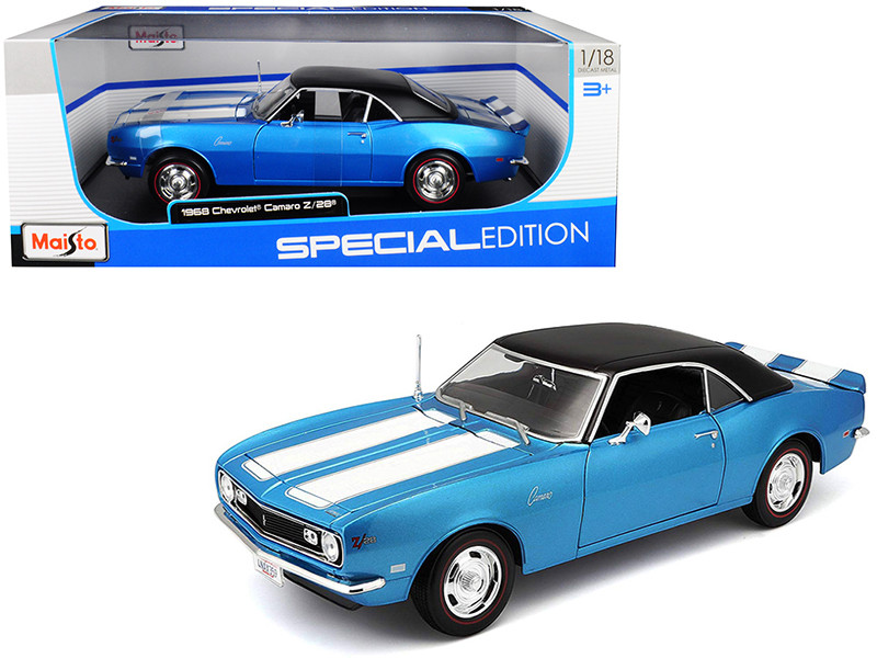 1968 Chevrolet Camaro Z/28 Coupe Blue Blue Stripes Black Top 1/18 Diecast Model Car Maisto 31685