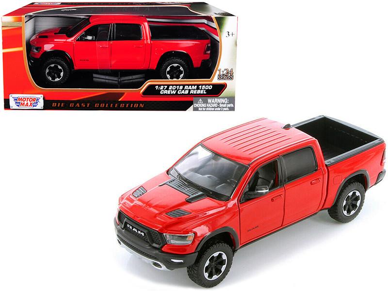 2019 Ram 1500 Crew Cab Rebel Pickup Truck Red 1/24 Diecast Model Car Motormax 79358