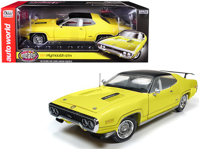 1971 Plymouth GTX Hardtop Lemon Twist Black Top Muscle Car & Corvette Nationals MCACN Limited Edition 996 pieces Worldwide 1/18 Diecast Model Car Autoworld AMM1186