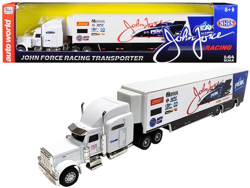 2019 Freightliner John Force Racing Transporter 1/64 Diecast Model Autoworld AWSP028