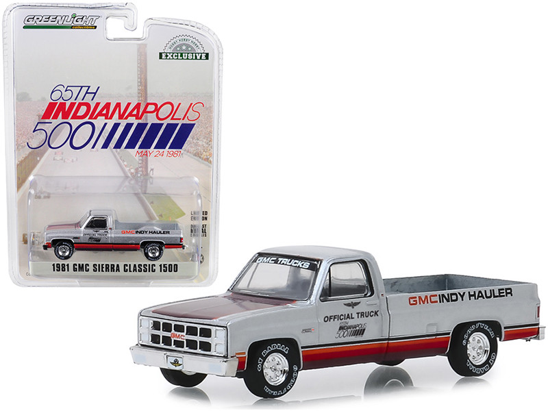 1981 GMC Sierra Classic 1500 Pickup Truck 65th Annual Indianapolis 500 Mile Race Official Truck May 24 1981 Hobby Exclusive 1/64 Diecast Model Car Greenlight 30027
