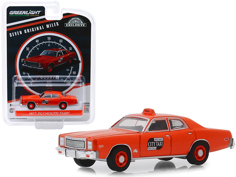 1977 Plymouth Fury NYC Taxi Binghamton New York City Seven Original Miles on Odometer Hobby Exclusive 1/64 Diecast Model Car Greenlight 30057