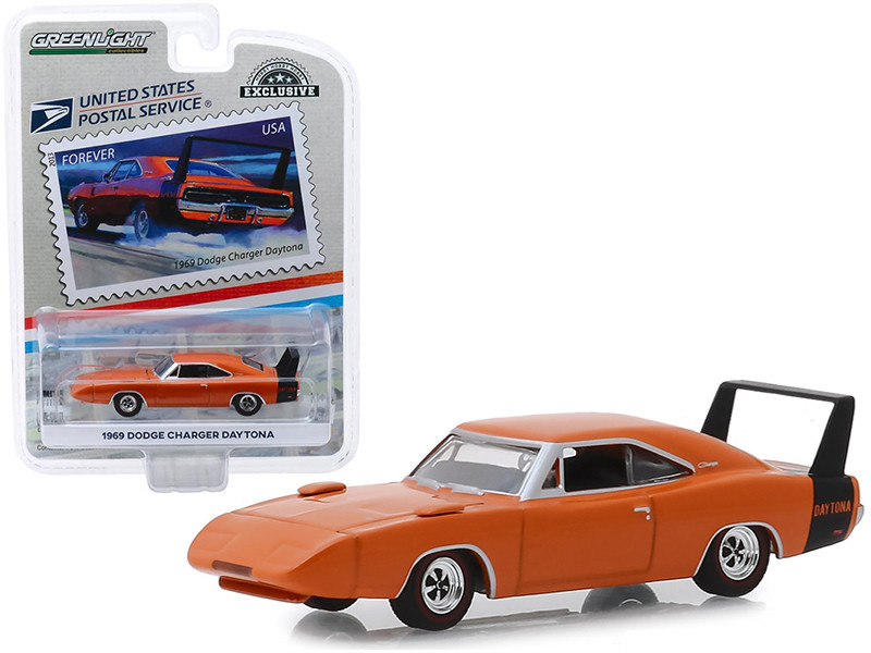 1969 Dodge Charger Daytona Orange USPS Stamps 2013 United States Postal Service America on the Move Muscle Cars Hobby Exclusive 1/64 Diecast Model Car Greenlight 30068