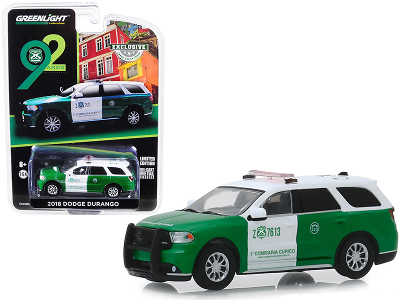2018 Dodge Durango Police Carabineros de Chile 92th Anniversary Hobby Exclusive 1/64 Diecast Model Car Greenlight 30079