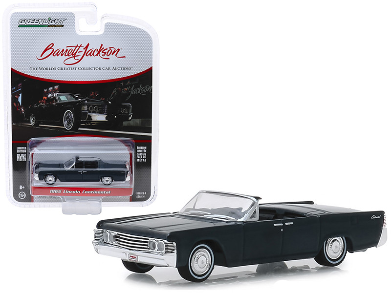 1965 Lincoln Continental Custom Convertible Black Lot #1585 Barrett Jackson Scottsdale Edition Series 4 1/64 Diecast Model Car Greenlight 37180 D