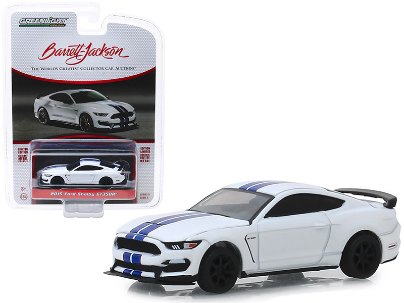 2015 Ford Mustang Shelby GT350R White Blue Stripes VIN #001 Lot #3008 Barrett Jackson Scottsdale Edition Series 4 1/64 Diecast Model Car Greenlight 37180 F