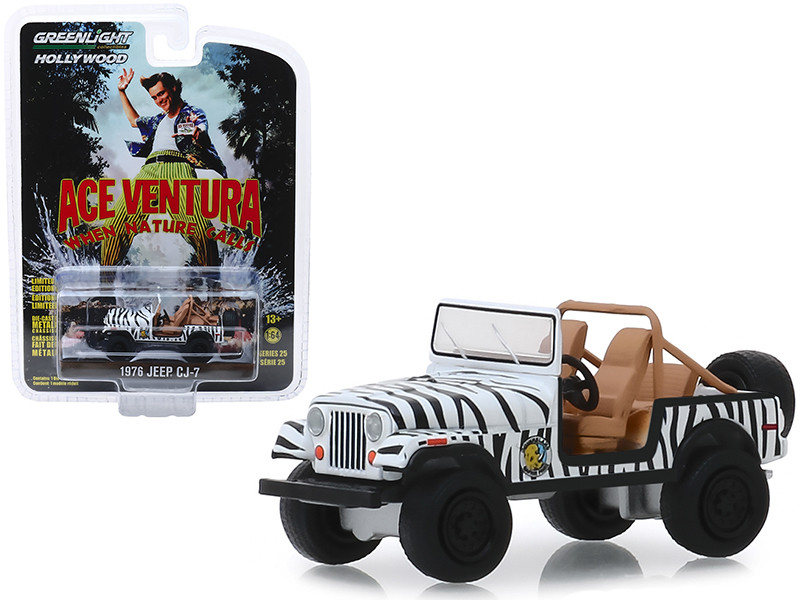 1976 Jeep CJ-7 Ace Ventura When Nature Calls 1995 Movie Hollywood Series Release 25 1/64 Diecast Model Car Greenlight 44850 A