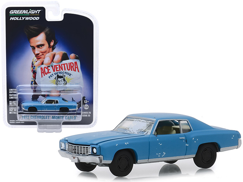 1972 Chevrolet Monte Carlo Light Blue A Beat Up Ace Ventura Pet Detective 1994 Movie Hollywood Series Release 25 1/64 Diecast Model Car Greenlight 44850 F