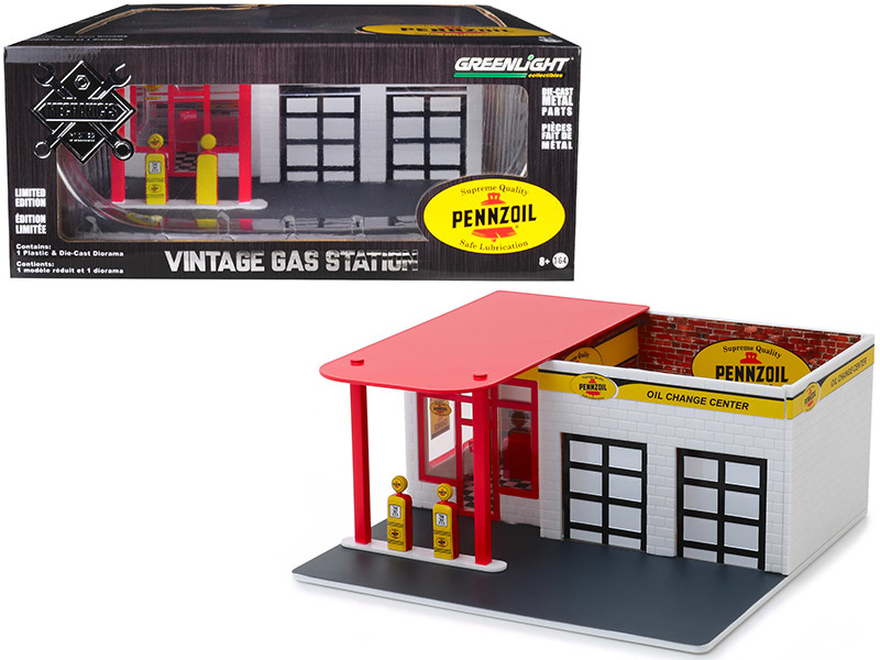 Mechanic's Corner Pennzoil Vintage Service Gas Station 10 Minute Oil Change Center Diorama 1/64 Scale Models Greenlight 57052