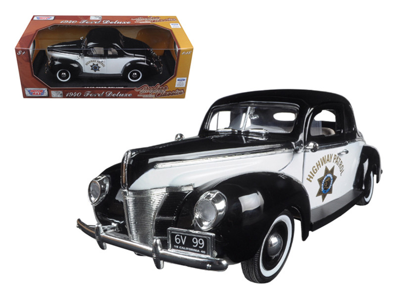 "1940 Ford Coupe Deluxe California Highway Patrol CHP ""Timeless Classics"" 1/18 Diecast Model Car Motormax 73108"