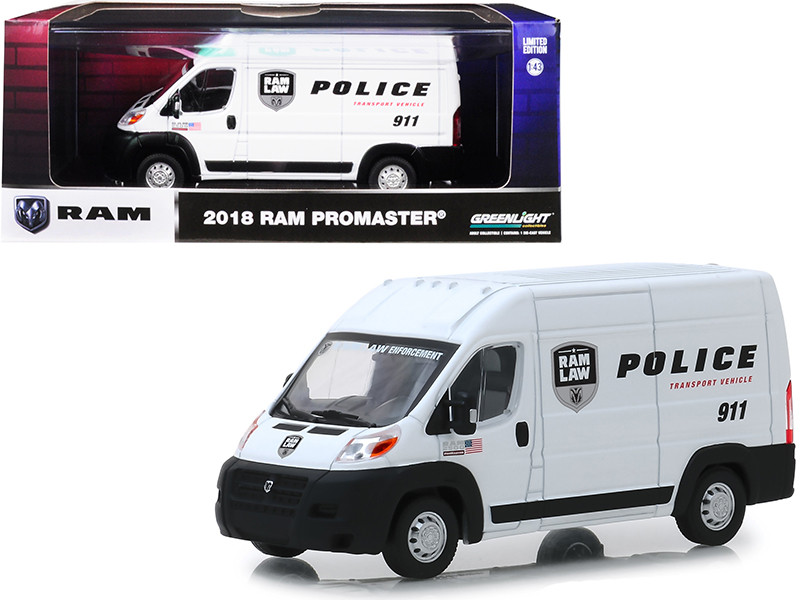 2018 Ram ProMaster 2500 Cargo High Roof Van White Police Transport Vehicle 1/43 Diecast Model Car Greenlight 86168