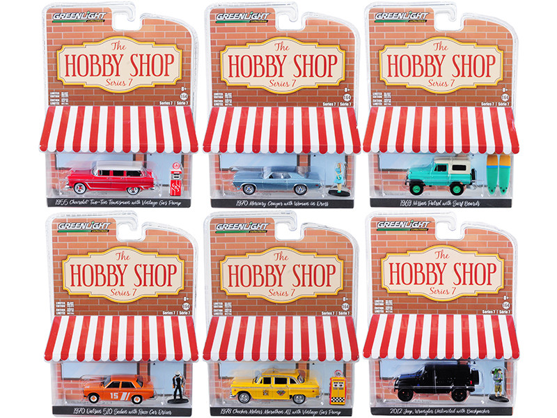 The Hobby Shop Series 7 Set of 6 pieces 1/64 Diecast Model Cars Greenlight 97070