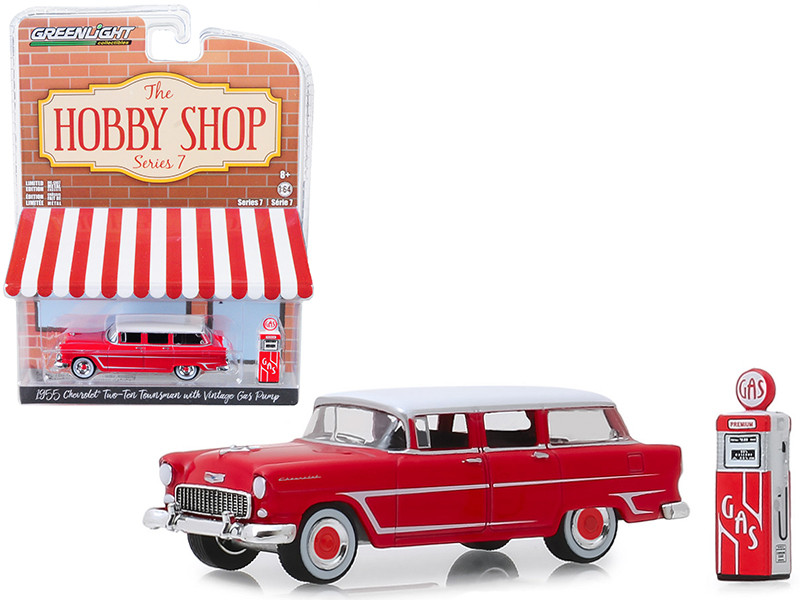 1955 Chevrolet Two-Ten Townsman Red Vintage Gas Pump The Hobby Shop Series 7 1/64 Diecast Model Car Greenlight 97070 A