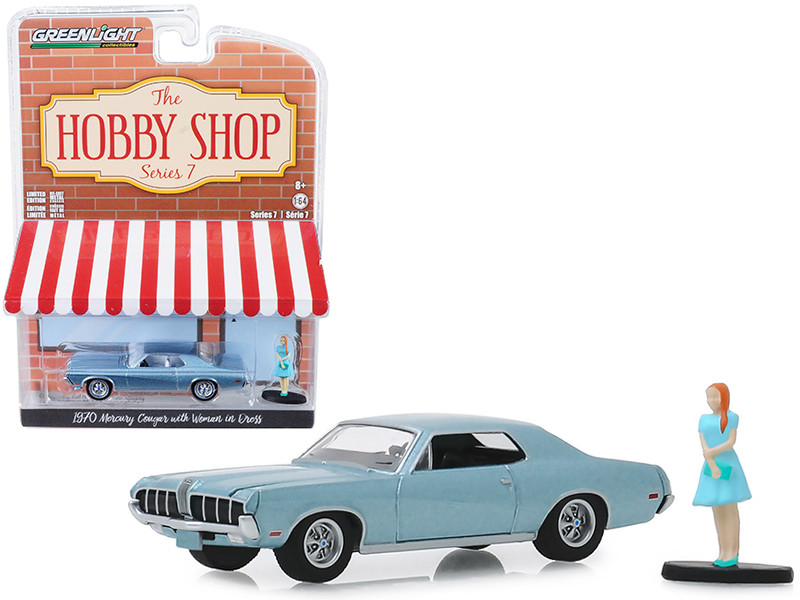 1970 Mercury Cougar Light Blue Metallic Woman in Dress Figurine The Hobby Shop Series 7 1/64 Diecast Model Car Greenlight 97070 B