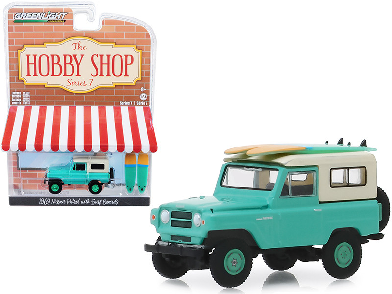 1969 Nissan Patrol Green Two Surf Boards The Hobby Shop Series 7 1/64 Diecast Model Car Greenlight 97070 C