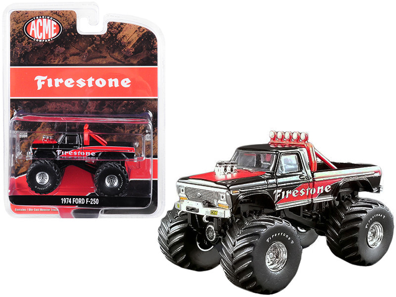 1974 Ford F-250 Monster Truck Firestone Black Red ACME Exclusive 1/64 Diecast Model Car Greenlight ACME 51272