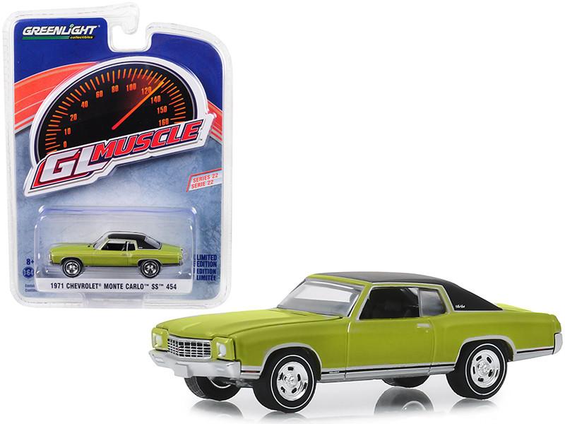 1971 Chevrolet Monte Carlo SS 454 Cottonwood Green Black Top Greenlight Muscle Series 22 1/64 Diecast Model Car Greenlight 13250 D