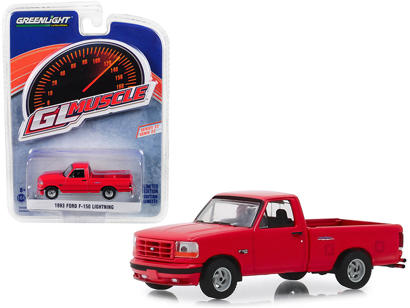 1993 Ford F-150 Lightning Pickup Truck Bright Red Greenlight Muscle Series 22 1/64 Diecast Model Car Greenlight 13250 E