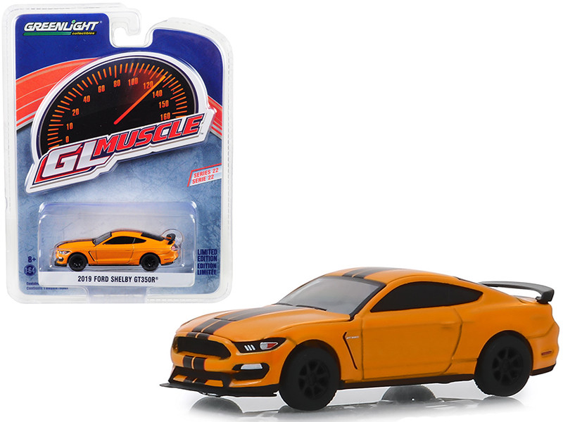 2019 Ford Mustang Shelby GT350R Orange Fury Metallic Black Stripes Greenlight Muscle Series 22 1/64 Diecast Model Car Greenlight 13250 F