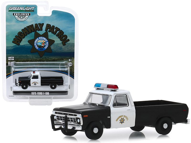 "1975 Ford F-100 Pickup Truck ""California Highway Patrol"" (CHP) ""Hobby Exclusive"" 1/64 Diecast Model Car by Greenlight"