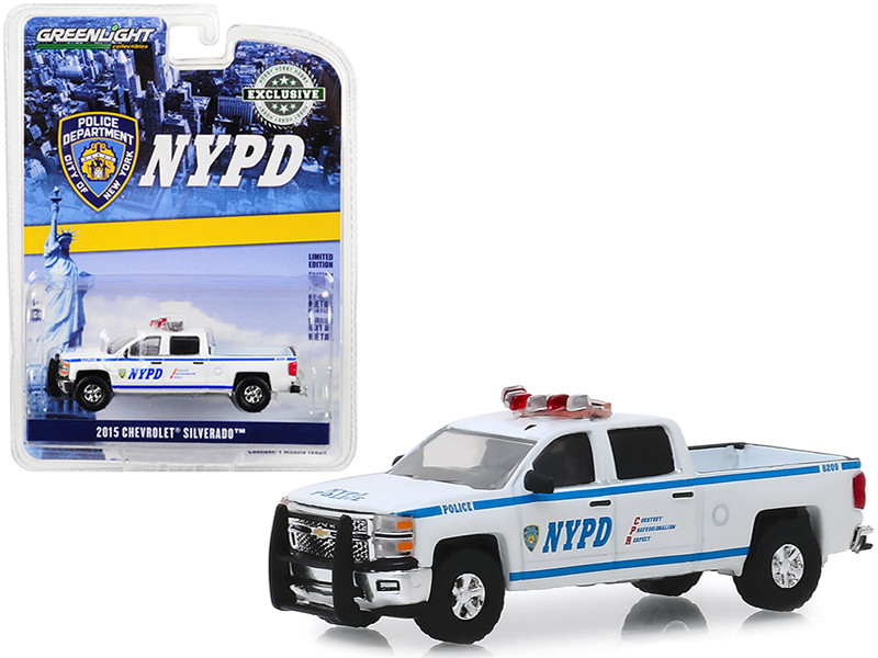 2015 Chevrolet Silverado Pickup Truck New York City Police Dept NYPD Hobby Exclusive 1/64 Diecast Model Car Greenlight 30093
