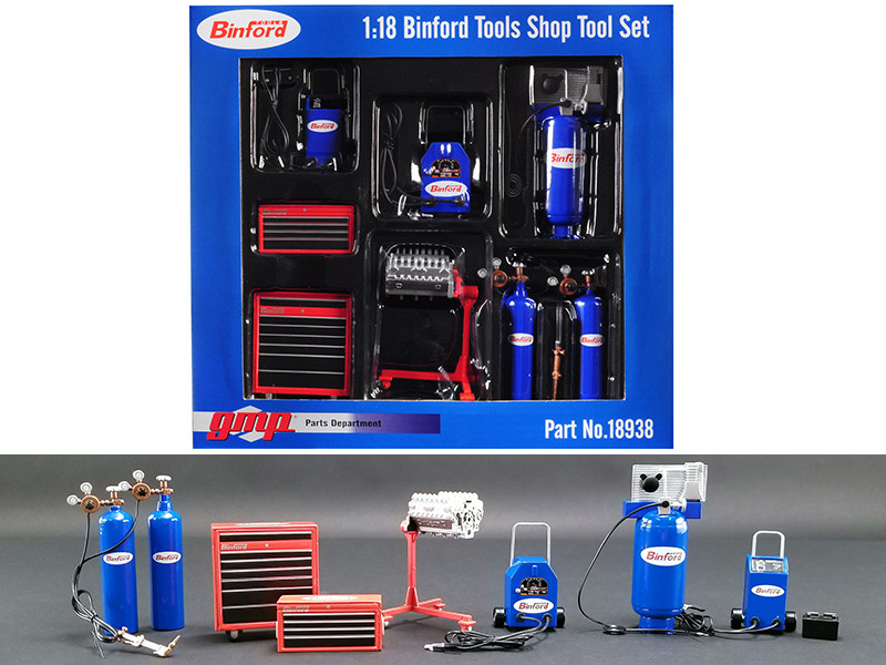 Binford Tools Garage Shop Tool Set of 7 pieces Home Improvement 1991 1999 TV Series 1/18 Diecast Replica GMP 18938
